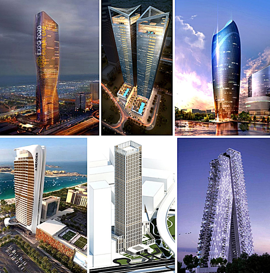 The Six high rise buildings presented as case studies