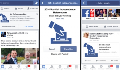 Facebook to introduce Scottish indyref 'I'm a voter' button on referendum morning as it reaches 10m posts on the vote
