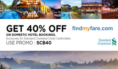 Findmyfare.com offers unbeatable discounts for Standard Chartered credit cards