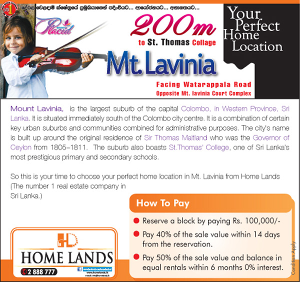 Your Perfect Home Location in Mt.Lavinia from Home Lands