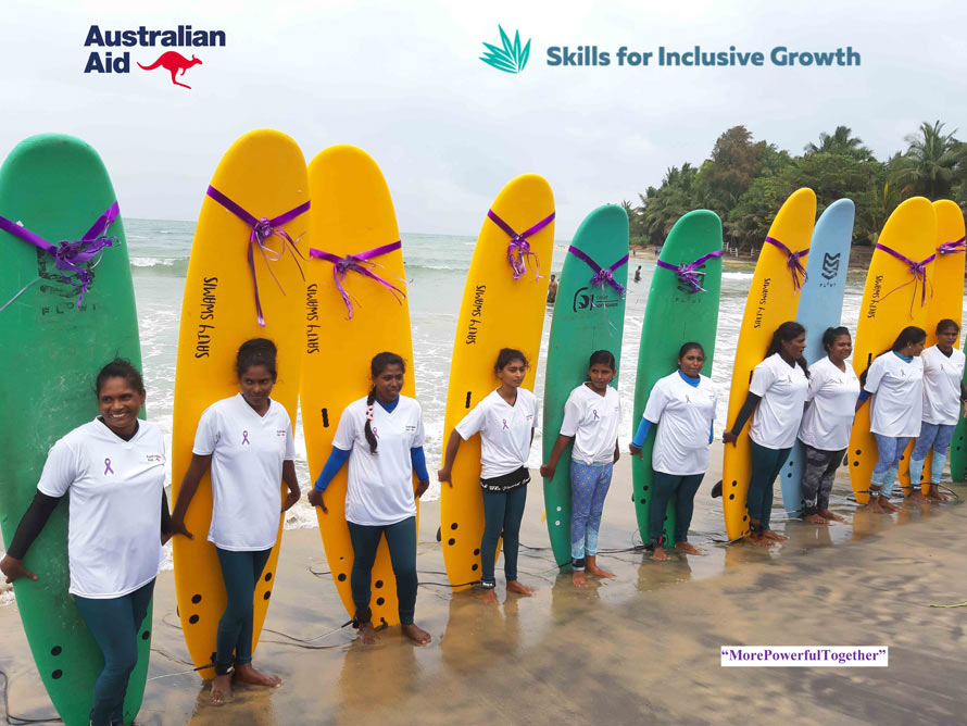 Empowering women one surfer at a time Sri Lanka s first certified female surfers riding the waves of success
