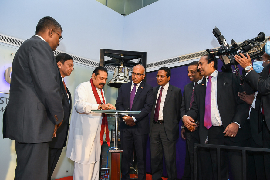 Hon. Mahinda Rajapaksa the Prime Minister of Sri Lanka openstrading at the Stock Exchange