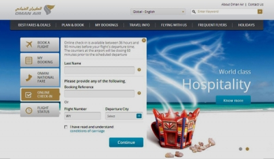 New Features On Oman Air's Website Offer Greater Choice & Convenience